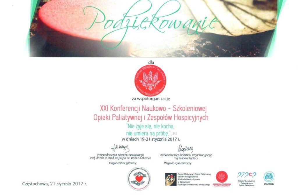 Podziękowanie od Stowarzyszenia Opieki Hospicyjnej Ziemi Częstochowskiej